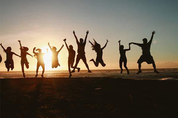 Glada personer
